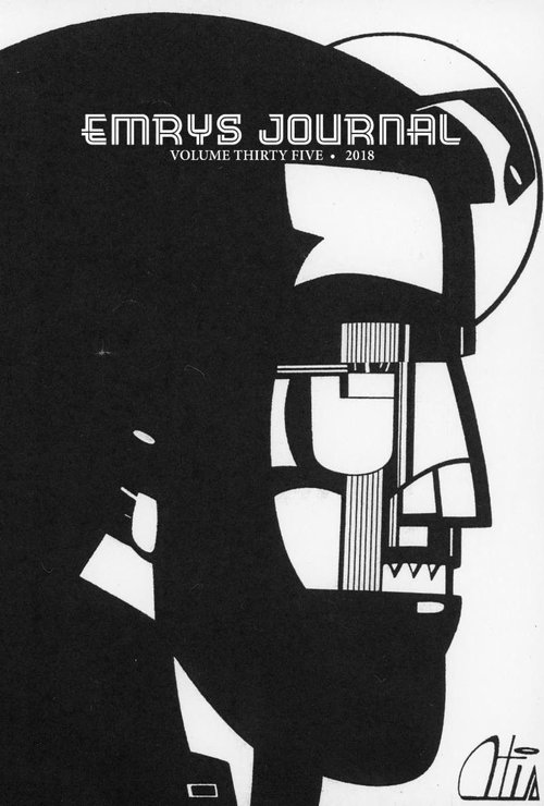 Cover of the Emrys Journal, Volume thirty five from 2019. It's black and white with a white background and modern black print of a man's silhouette.
